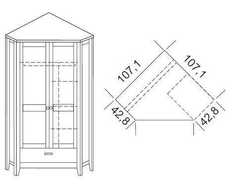 Шкаф 2-дверный угловой Сиело 77320